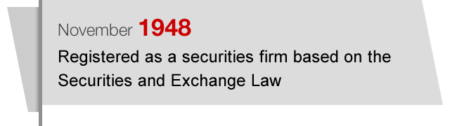 November1948 Registered as a securities firm based on the Securities and Exchange Law