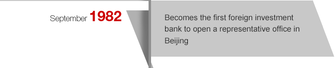September1982 Becomes the first foreign investment bank to open a representative office in Beijing