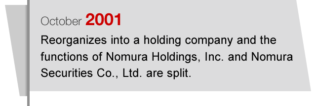 October2001 Reorganizes into a holding company and the functions of Nomura Holdings, Inc. and Nomura Securities Co., Ltd. are split.