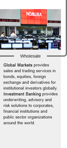 Wholesale:Global Markets provides sales and trading services in bonds, equities, foreign exchange and derivatives for institutional investors globally.Investment Banking provides underwriting, advisory and risk solutions to corporates, financial institutions and public sector organizations around the world.