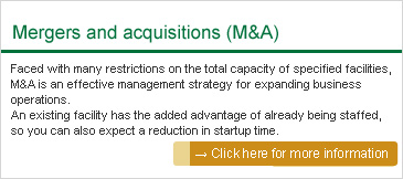 Mergers and acquisitions (M&A): Faced with many restrictions on the total capacity of specified facilities, M&A is an effective management strategy for expanding business operations. An existing facility has the added advantage of already being staffed, so you can also expect a reduction in startup time.